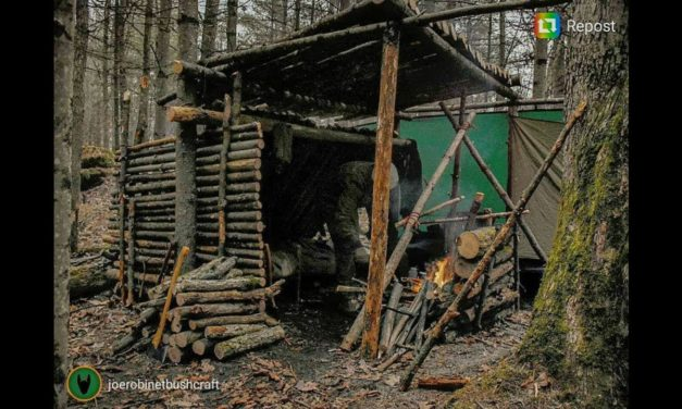 2 Night Winter Bushcraft Camp, Building a Shelter With a Wooden Roof, Walls and Bed.
